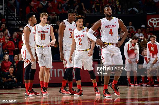 The Maryland Terrapins wait during the game against the Ohio State Buckeyes at Xfinity Center on January 16 2016 in College Park Maryland