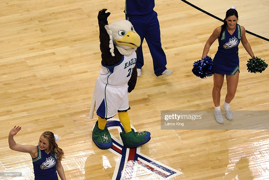 The mascot and cheerleaders of the Florida Gulf Coast Eagles perform during a game against the Georgetown Hoyas during the second round of the 2013 NCAA Men's Basketball Tournament at the Wells Fargo Center on March 22, 2013 in Philadelphia, Pennsylvania. Florida Gulf Coast defeated Georgetown 78-68.