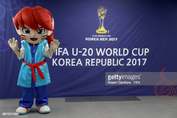 The mascot Chaormi is seen prior to the FIFA U20 World Cup Korea Republic 2017 group A match between England and Guinea at Jeonju World Cup Stadium...