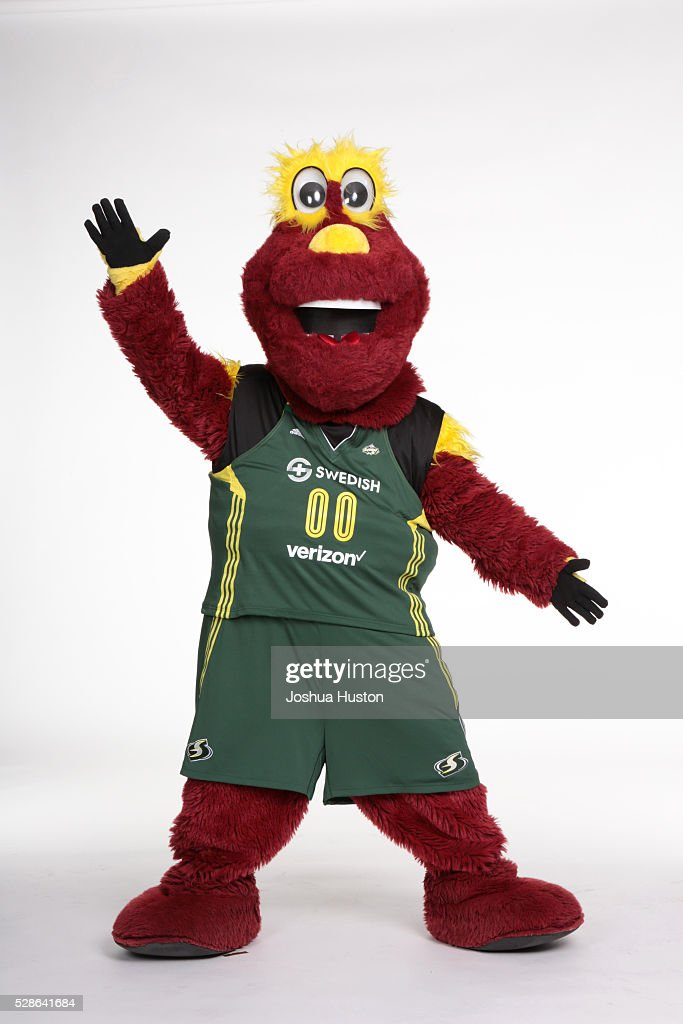 The mascot Doppler of the Seattle Storm poses for a photo during media day at Key Arena in Seattle, Washington May 05, 2016.