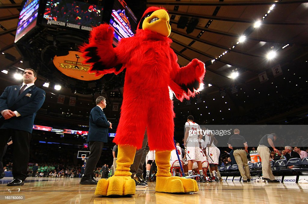 The mascot for the Louisville Cardinals performs against the Notre Dame Fighting Irish during the semifinals of the Big East Men's Basketball Tournament at Madison Square Garden on March 15, 2013 in New York City.