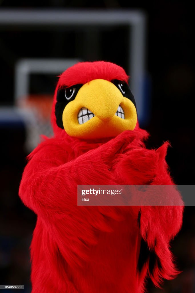 The mascot for the Louisville Cardinals performs against the Syracuse Orange during the final of the Big East Men's Basketball Tournament at Madison Square Garden on March 16, 2013 in New York City.