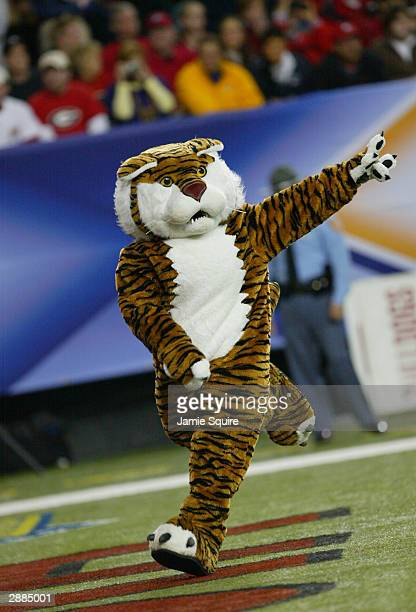 The mascot for the LSU Tigers runs through the end zone during a break in the SEC Championship Game against the Georgia Bulldogs on December 6 2003...