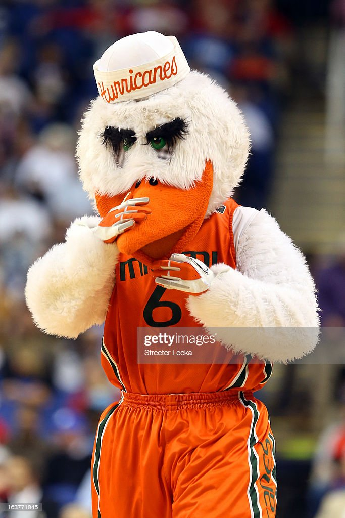 The mascot for the Miami Hurricanes performs during the quarterfinals of the ACC Men's Basketball Tournament at the Greensboro Coliseum on March 15, 2013 in Greensboro, North Carolina.