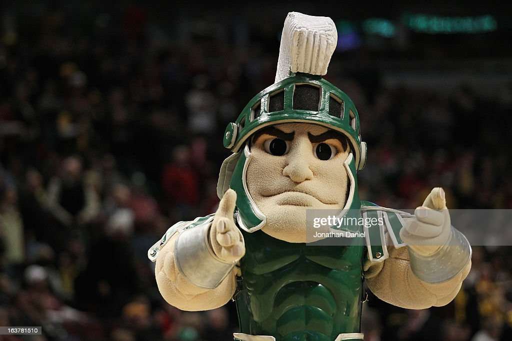 The mascot for the Michigan State Spartans looks across the court as the Spartans play against the Iowa Hawkeyes during a quarterfinal game of the Big Ten Basketball Tournament at the United Center on March 15, 2013 in Chicago, Illinois.