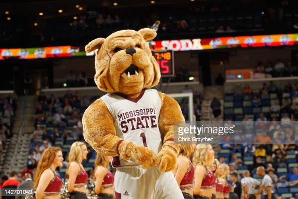 The Mascot for the Mississippi State Bulldogs during the first round of the SEC Basketball Tournament at the New Orleans Arena on March 8 2012 in New...