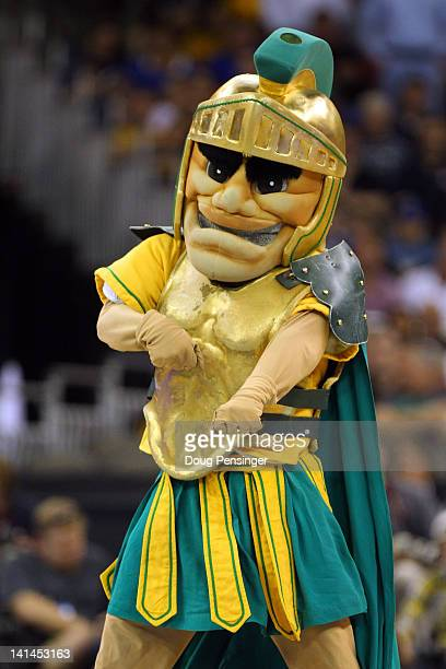 The mascot for the Norfolk State Spartans performs against the Missouri Tigers during the second round of the 2012 NCAA Men's Basketball Tournament...