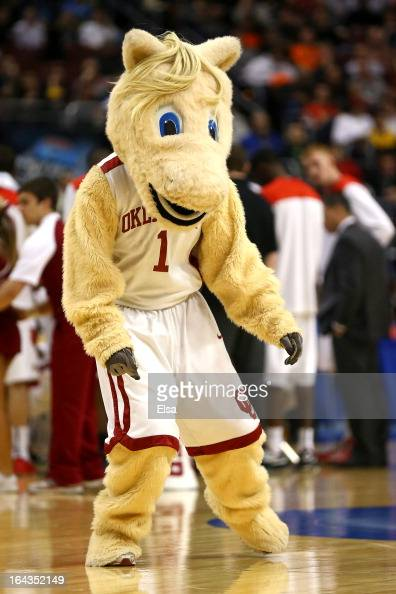 The mascot for the Oklahoma Sooners performs against the San Diego State Aztecs during the second round of the 2013 NCAA Men's Basketball Tournament...