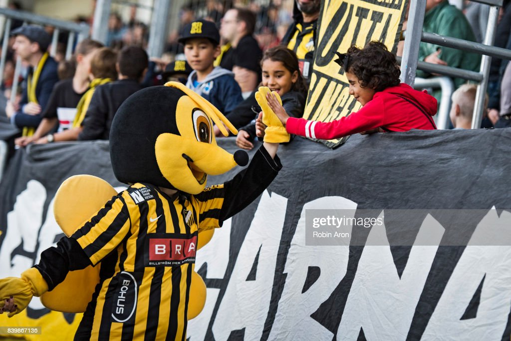 The mascot of BK Hacken high fives with fans during the Allsvenskan match between BK Hacken and Jonkopings Sodra IF at Bravida Arena on August 27, 2017 in Gothenburg, Sweden.