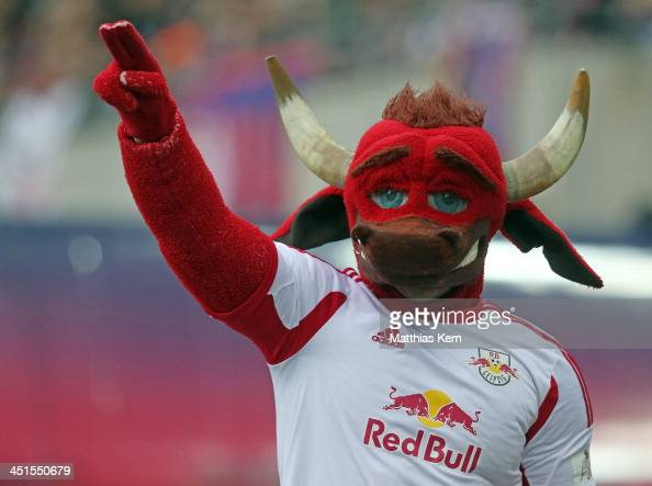 The mascot of Leipzig looks on during the third league match between RB Leipzig and FC Hansa Rostock at Redbull Arena on November 23 2013 in Leipzig...