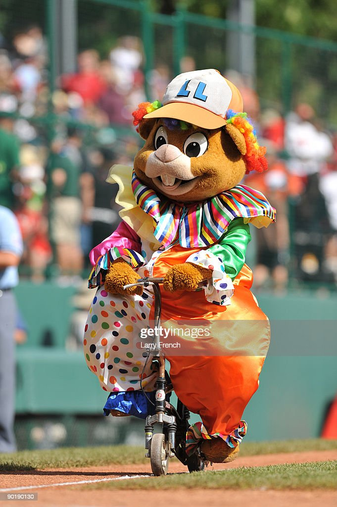 The mascot of little league world series, rides a bike during a break during the game between California (Chula Vista) and Asia Pacific (Taoyuan, Taiwan) in the little league world series final at Lamade Stadium on August 30, 2009 in Williamsport, Pennsylvania.