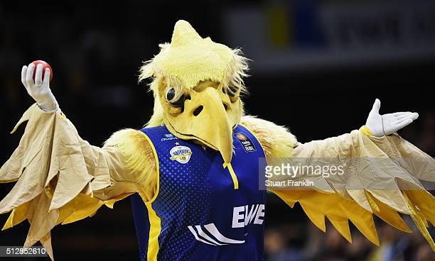The mascot of Oldenburg gestures during the Bundesliga basketball match between EWE Baskets Oldenburg and Phoenix Hagen at Large EWE Arena on...