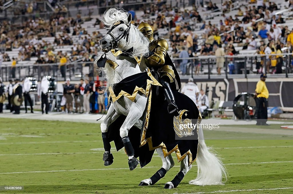 The mascot of the Central Florida Knights performs just before the start of the game against the Southern Mississippi Golden Eagles at Bright House Networks Stadium on October 13, 2012 in Orlando, Florida.