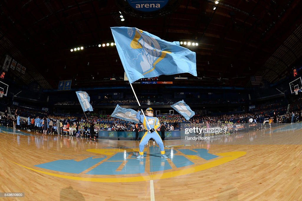 The mascot of the Chicago Sky performs before the game against the Indiana Fever on June 29, 2016 at Allstate Arena in Rosemont, IL.