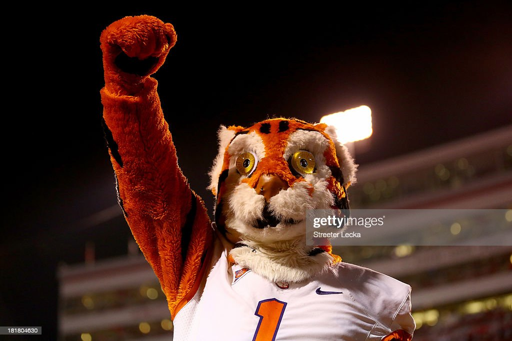 The mascot of the Clemson Tigers during their game at Carter-Finley Stadium on September 19, 2013 in Raleigh, North Carolina.