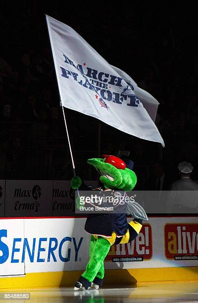 The mascot of the Columbus Blue Jackets Stinger leads his team onto the ice to face the Chicago Blackhawks at the Nationwide Arena March 18 2009 in...