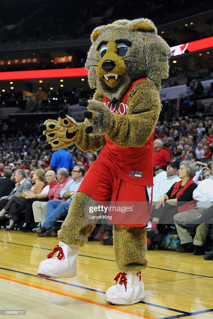 The mascot of the Davidson Wildcats performs during a stop in play against the Duke Blue Devils at Time Warner Cable Arena on January 2, 2013 in Charlotte, North Carolina. Duke defeated Davidson 67-50.