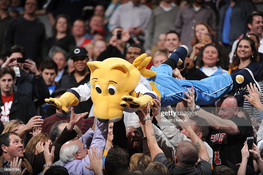 The mascot of the Denver Nuggets entertains the crowd during the game against the Chicago Bulls on February 7, 2013 at the Pepsi Center in Denver, Colorado.