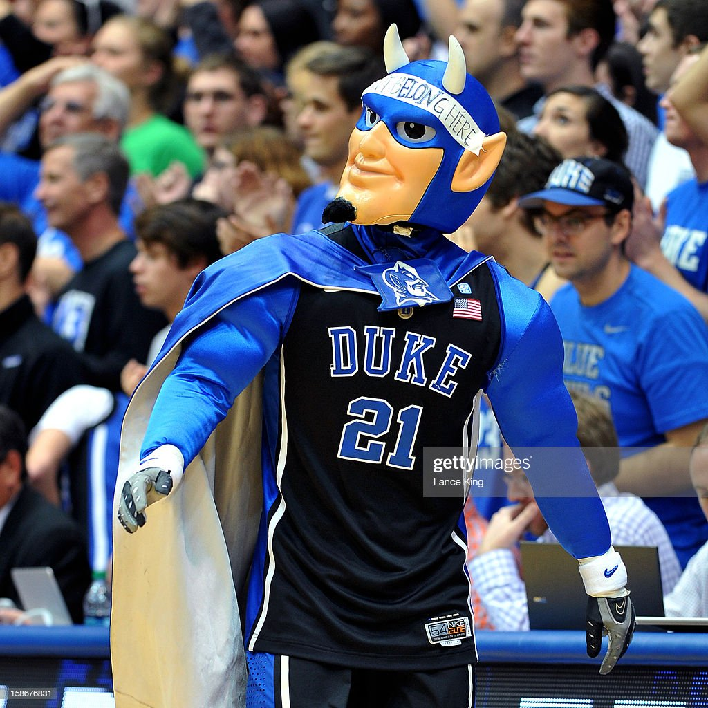 The mascot of the Duke Blue Devils performs during a game against the Elon Phoenix at Cameron Indoor Stadium on December 20, 2012 in Durham, North Carolina. Duke defeated Elon 76-54.