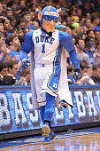 The mascot of the Duke Blue Devils performs during a game against the Wake Forest Demon Deacons at Cameron Indoor Stadium on March 4 2015 in Durham...