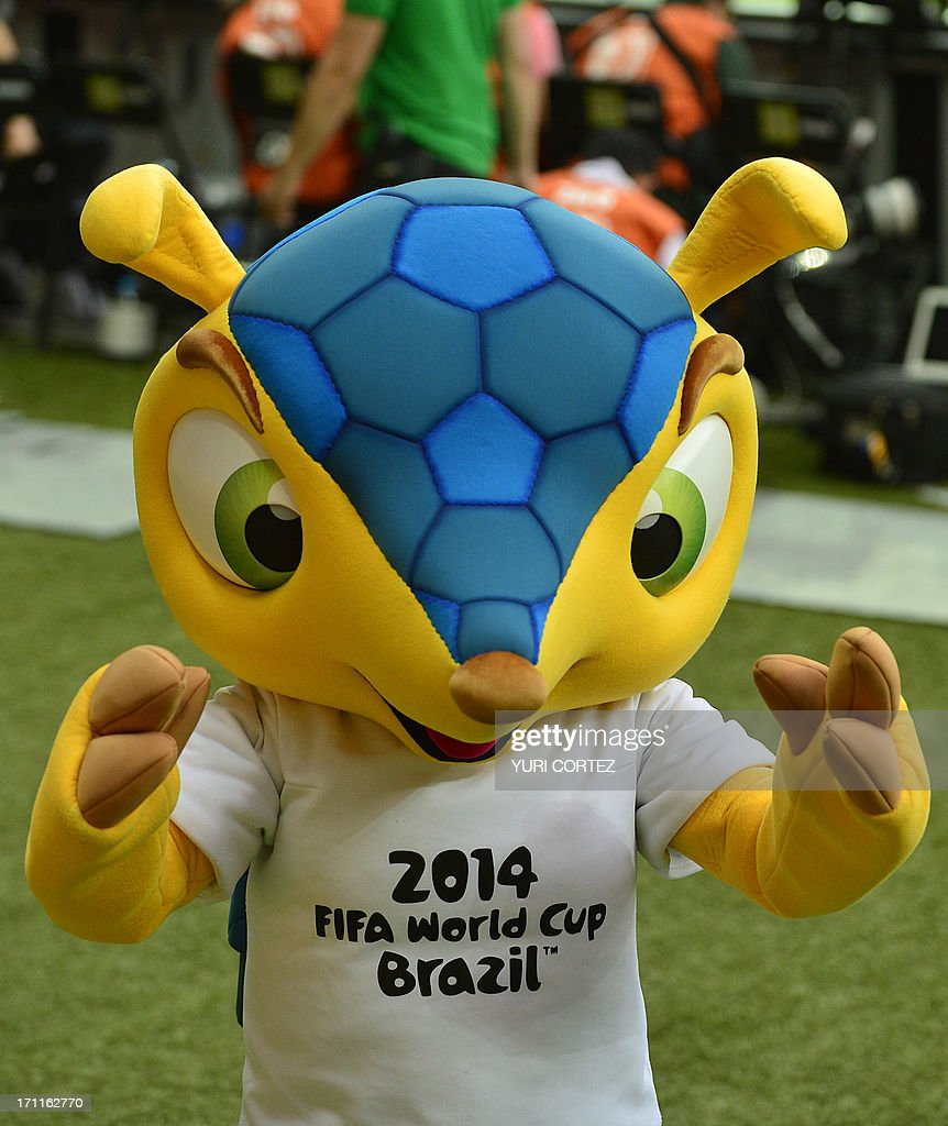 The mascot of the FIFA Brazil 2014 World Cup, Fuleco, is seen before the start of the FIFA Confederations Cup Brazil 2013 Group A football match between Japan and Mexico, at the Mineirao Stadium in Belo Horizonte on June 22, 2013.