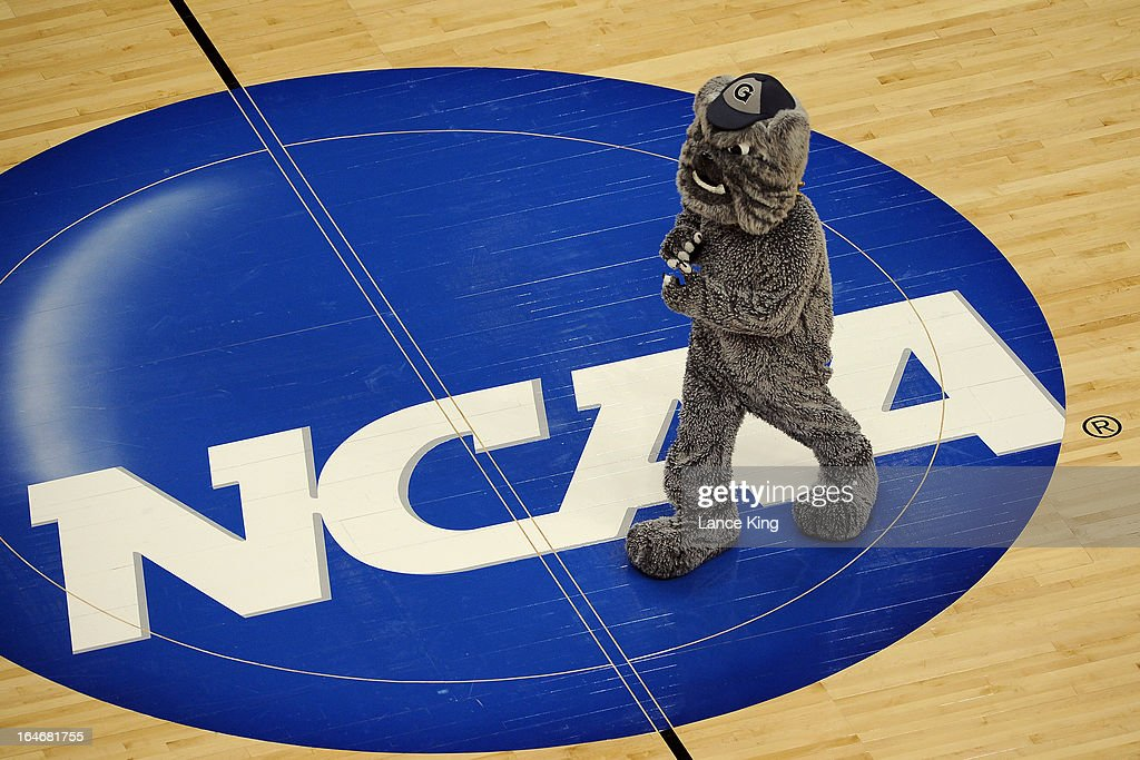 The mascot of the Georgetown Hoyas performs during a game against the Florida Gulf Coast Eagles during the second round of the 2013 NCAA Men's Basketball Tournament at the Wells Fargo Center on March 22, 2013 in Philadelphia, Pennsylvania. Florida Gulf Coast defeated Georgetown 78-68.