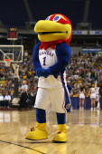 The mascot of the Kansas Jayhawks performs against the North Dakota State Bison during the first round of the NCAA Division I Men's Basketball...
