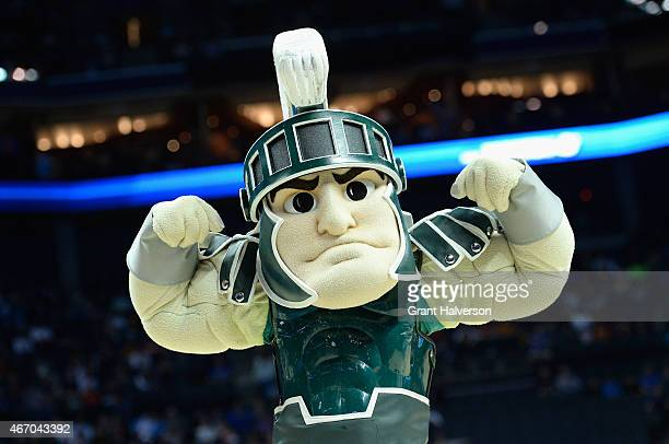 The mascot of the Michigan State Spartans in action against the Georgia Bulldogs during the second round of the 2015 NCAA Men's Basketball Tournament...