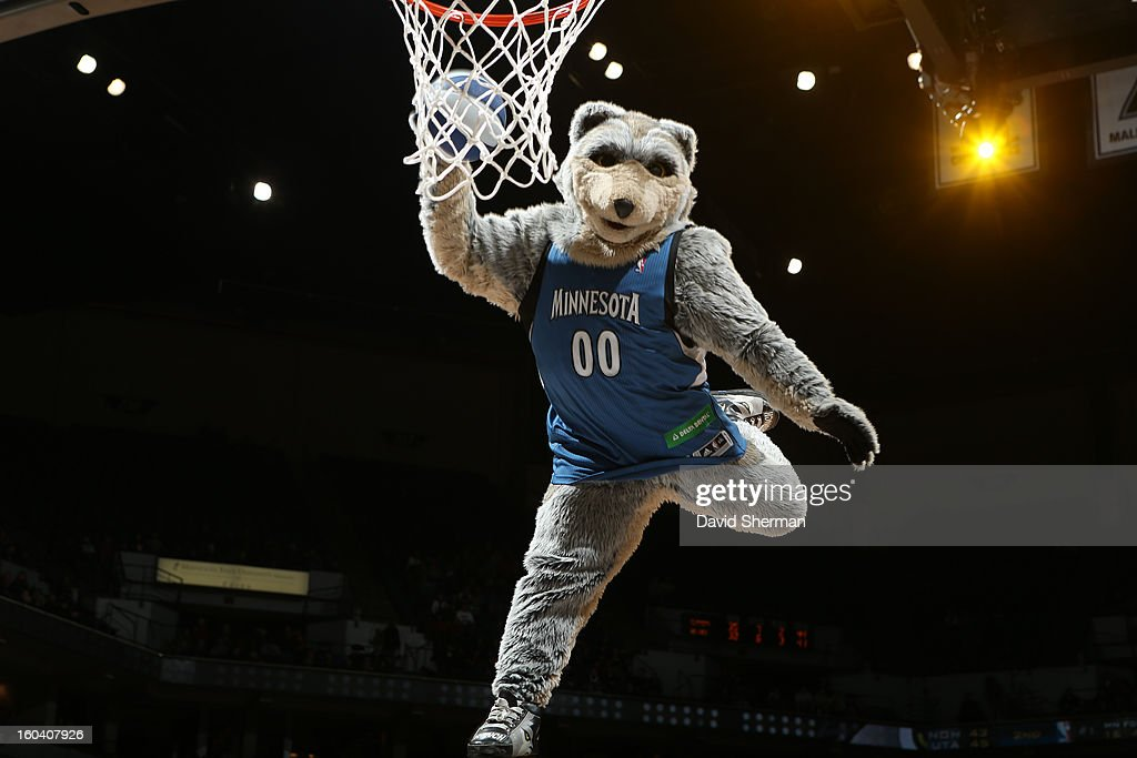 The mascot of the Minnesota Timberwolves dunks the ball against the Los Angeles Clippers on January 30, 2013 at Target Center in Minneapolis, Minnesota.
