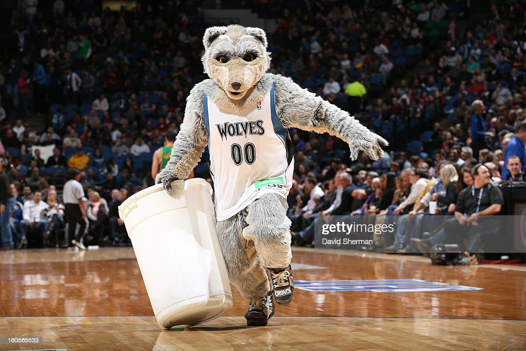 The mascot of the Minnesota Timberwolves entertains during the game against the New Orleans Hornets on February 2, 2013 at Target Center in Minneapolis, Minnesota.