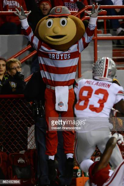 The mascot of the Ohio State Buckeyes reacts to a score by wide receiver Terry McLaurin of the Ohio State Buckeyes against the Nebraska Cornhuskers...