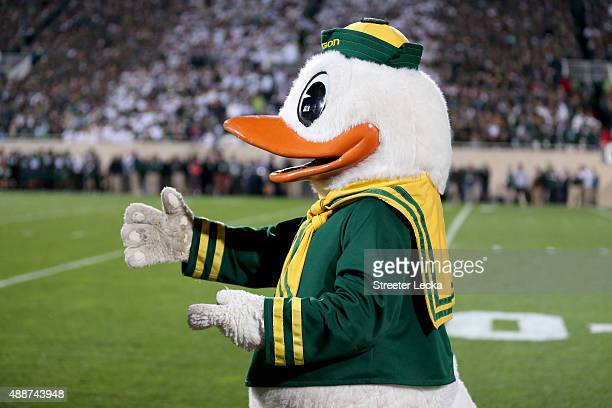 The mascot of the Oregon Ducks during their game at Spartan Stadium on September 12 2015 in East Lansing Michigan