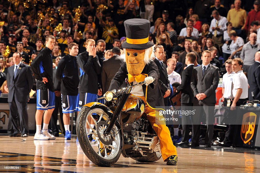 The mascot of the Wake Forest Demon Deacons rides a custom-built motorcycle on the court prior to a game against the Duke Blue Devils at Lawrence Joel Coliseum on January 30, 2013 in Winston-Salem, North Carolina. Duke defeated Wake Forest 75-70.