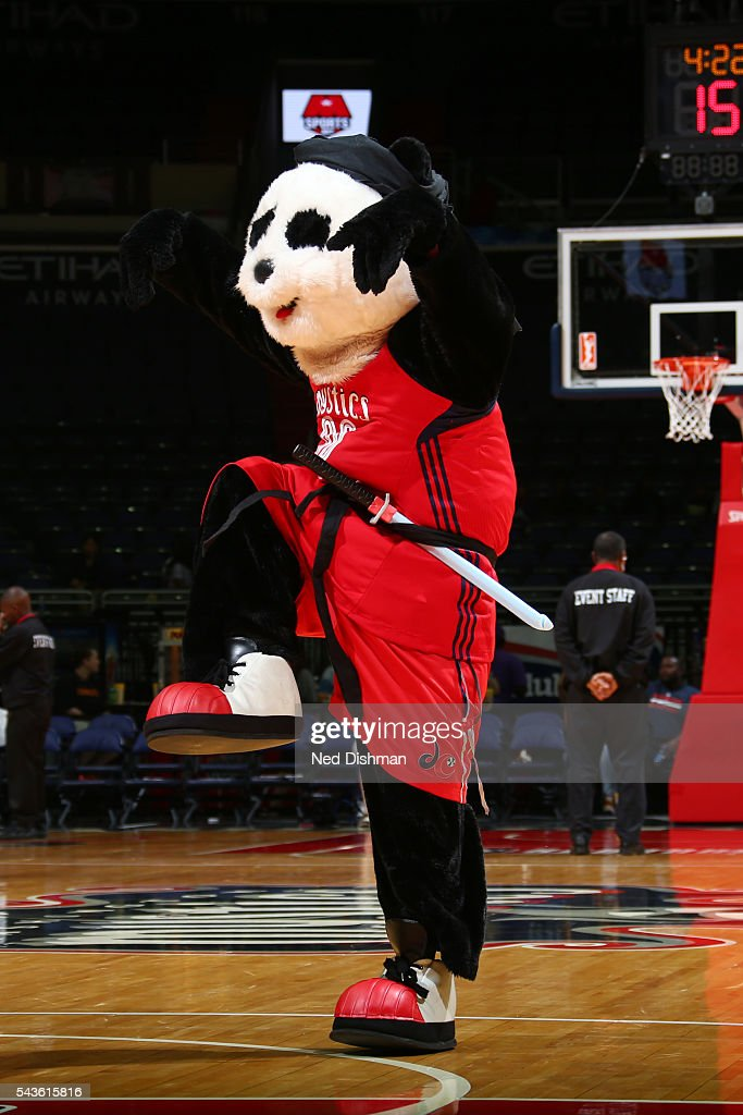 The mascot of the Washington Mystics performs at halftime against the San Antonio Stars on June 29, 2016 at the Verizon Center in Washington, DC.