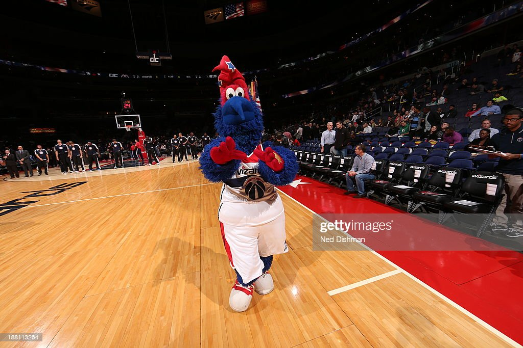The mascot of the Washington Wizards entertains the crowd during the game against the Brooklyn Nets at the Verizon Center on November 8, 2013 in Washington, DC.