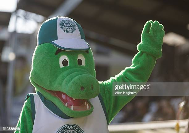 The mascot of Viborg FF prior to the Danish Alka Superliga match between Viborg FF and FC Nordsjalland at Energi Viborg Arena on February 28 2016 in...