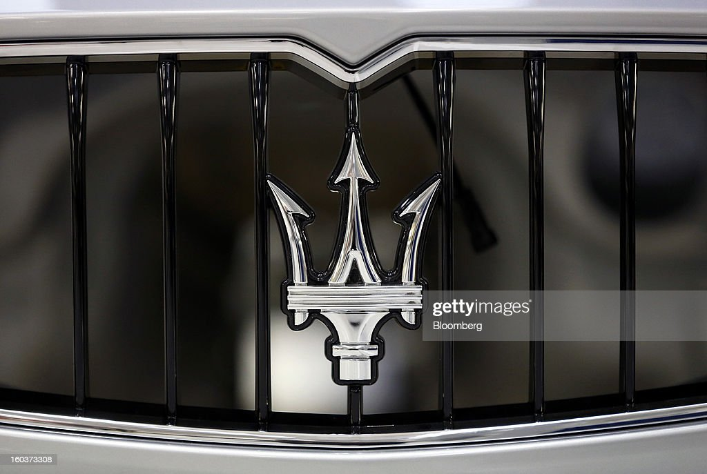 The Maserati emblem sits on the front grille of a Quattroporte luxury automobile during production at Fiat SpA's Grugliasco factory in Turin, Italy, on Wednesday, Jan. 30, 2013. Fiat SpA Chief Executive Officer Sergio Marchionne said the Italian carmaker narrowed losses in Europe in the fourth quarter, helping it achieve full-year earnings that were in line with its forecasts. Photographer: Alessia Pierdomenico/Bloomberg via Getty Images