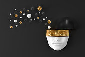 The mask of a woman's head on the wall with exploding geometric shapes flying in different directions. 3D illustration