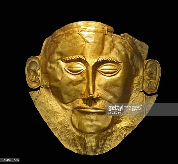 The Mask of Agamemnon discovered at Mycenae in 1876 by Heinrich Schliemann The mask is a gold funeral mask found over the face of a body located in a...