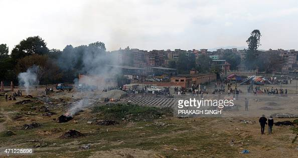 The mass cremation of earthquake victims takes place Bhaktapur on the outskirts of Kathmandu on April 26 2015 International aid groups and...