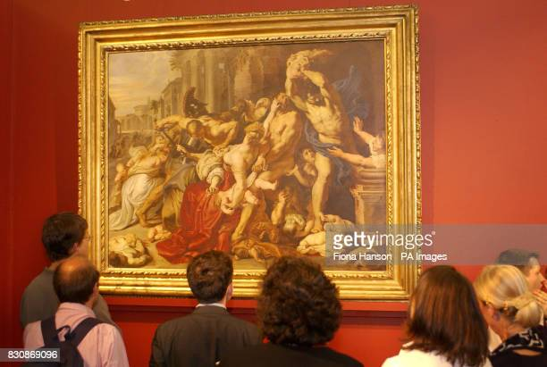 The Massacre of the Innocents circa 160911 by the 17th century Flemish artist Peter Paul Rubens is viewed at Sotheby' in London where the painting...