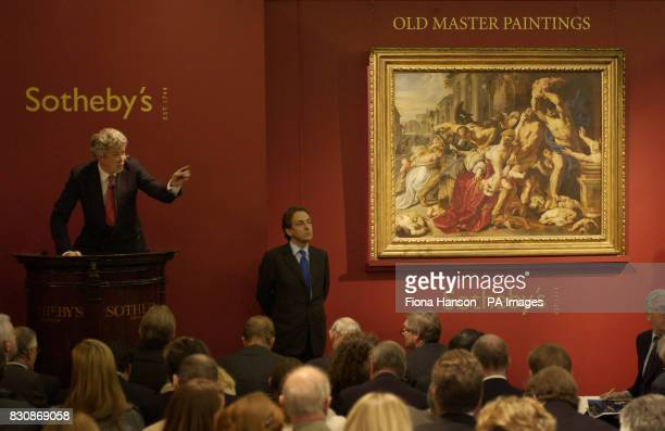 The Massacre of the Innocents circa 160911 by the 17th century Flemish artist Sir Peter Paul Rubens hangs at Sotheby's aution rooms central London *...