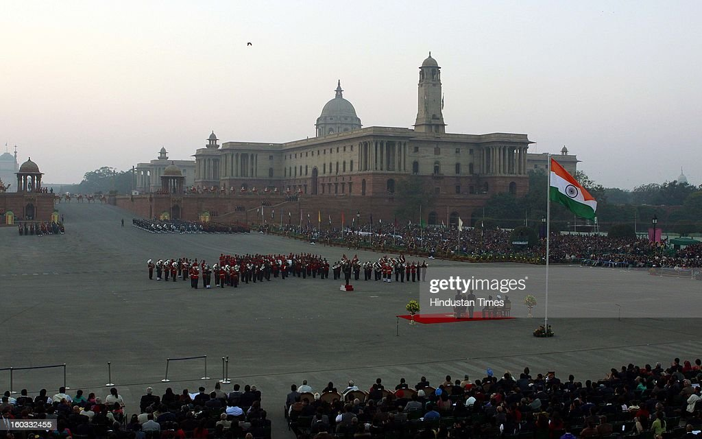 The massed bands from the three Defence forces perform in front of President Pranab Mukherjee and three defense service chiefs during the Beating Retreat ceremony at Vijay Chowk on January 29, 2013 in New Delhi, India. This ceremony officially marks the end of Republic Day celebrations.