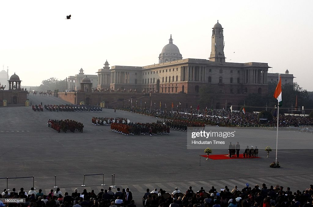 The massed bands the three Defence forces marched down Rajpath during the Beating Retreat ceremony at Vijay Chowk on January 29, 2013 in New Delhi, India. This ceremony officially marks the end of Republic Day celebrations.