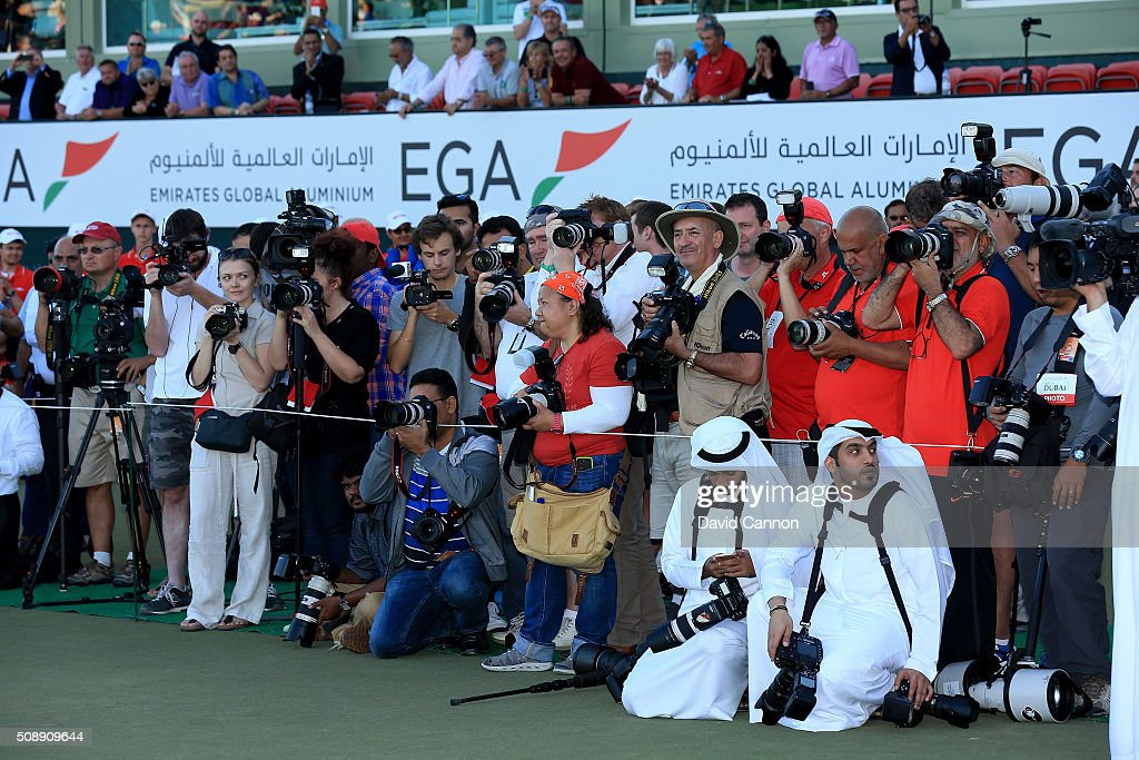The massed photographers in attendance at the prize ceremony after the final round of the 2016 Omega Dubai Desert Classic on the Majlis Course at the Emirates Golf Club on February 7, 2016 in Dubai, United Arab Emirates.