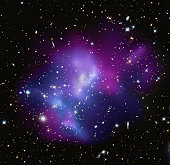 This composite image shows the massive galaxy cluster MACS J0717.5+3745 (MACS J0717, for short), where four separate galaxy clusters have been involved in a collision, the first time such a phenomenon
