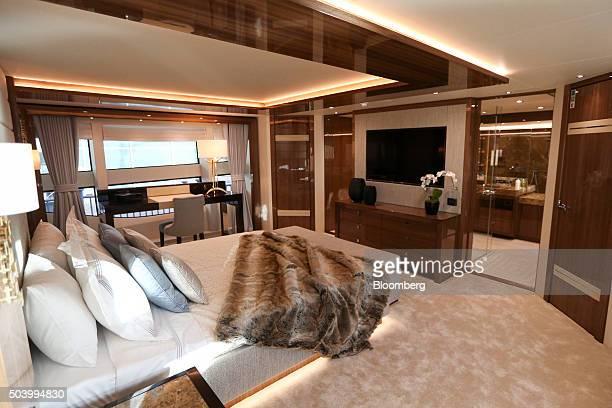 The master bedroom sits onboard a 131 yacht manufactured by Sunseeker International Ltd on display at the 2016 London Boat Show at the ExCel...