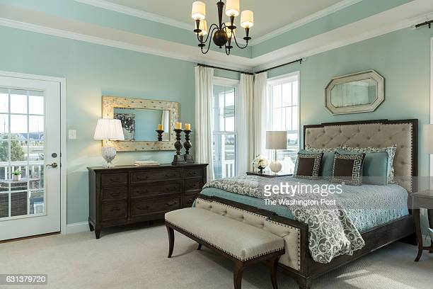 The Master Bedroom with Door to the Screened in Porch in the Vivien model at The Villages at Two Rivers on December 15 2016 in Odenton Maryland