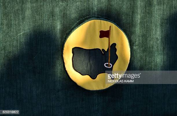 The Masters logo is pictured during the presentation ceremony at the end of the 80th Masters Golf Tournament at the Augusta National Golf Club on...