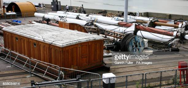 The masts deck houses and riggings of the Cutty Sark at the Historic Dockyard in Chatham Kent where they are stored